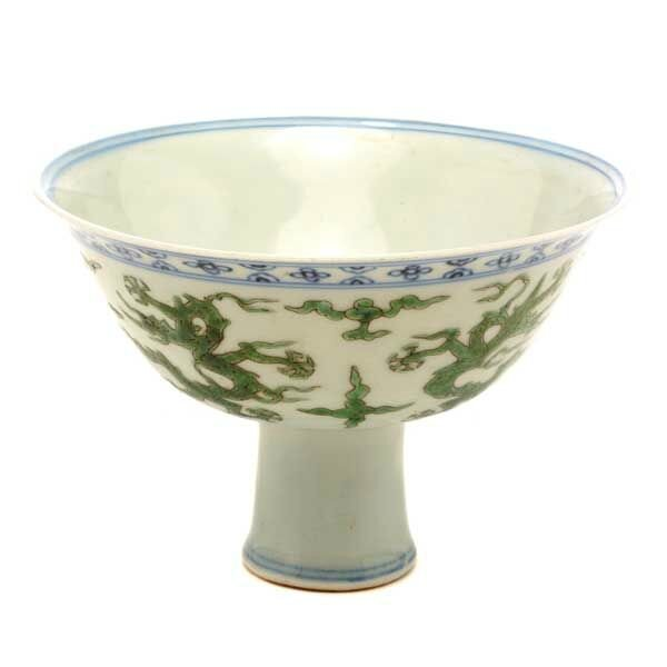 An Underglaze Blue and Famille Verte Stem Bowl, Jiaqing Mark and of the Period