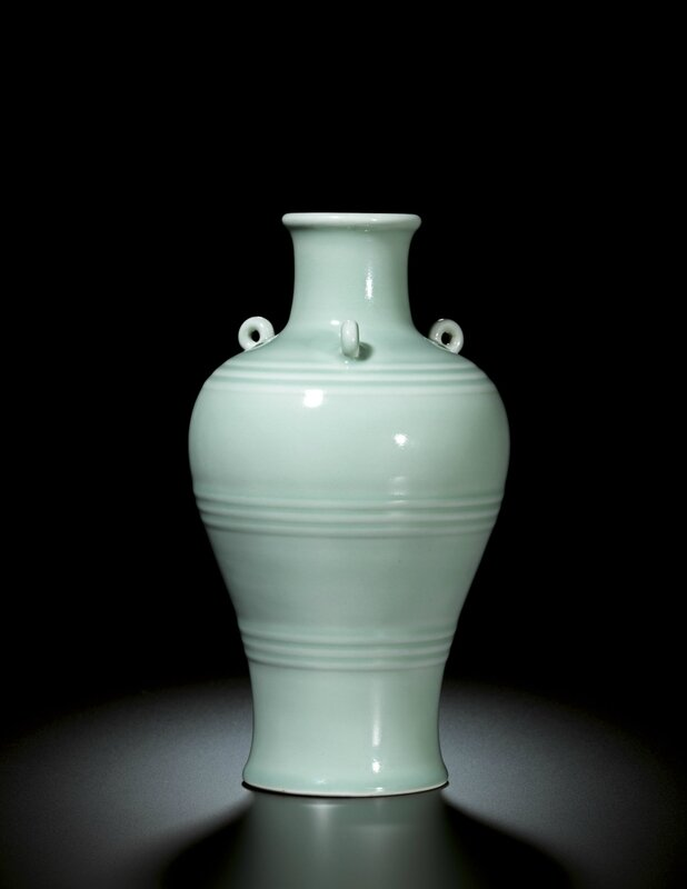 A fine and rare archaistic celadon glazed meiping, Seal mark and period of Yongzheng (1723-1735)