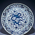 A rare blue and white 'Dragon' charger, Jiajing six-character mark in underglaze blue within a double rectangle and of the period (1522-1566)