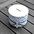 Tirelire ronde bleue papier japonais