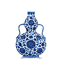 A fine blue and white double-gourd flask, qianlong six-character seal mark in underglaze blue and of the period (1736- 1795)