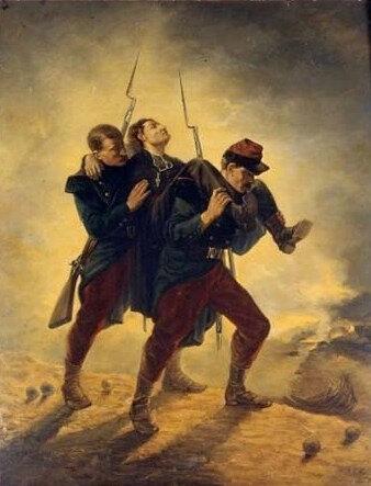inconnu, scène de la guerre de 1870, église de Cromac (Limousin)
