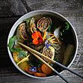 Ramen Alsaciens, bouillon de sarrasin torréfié et légumes racine, Fleischschnakas