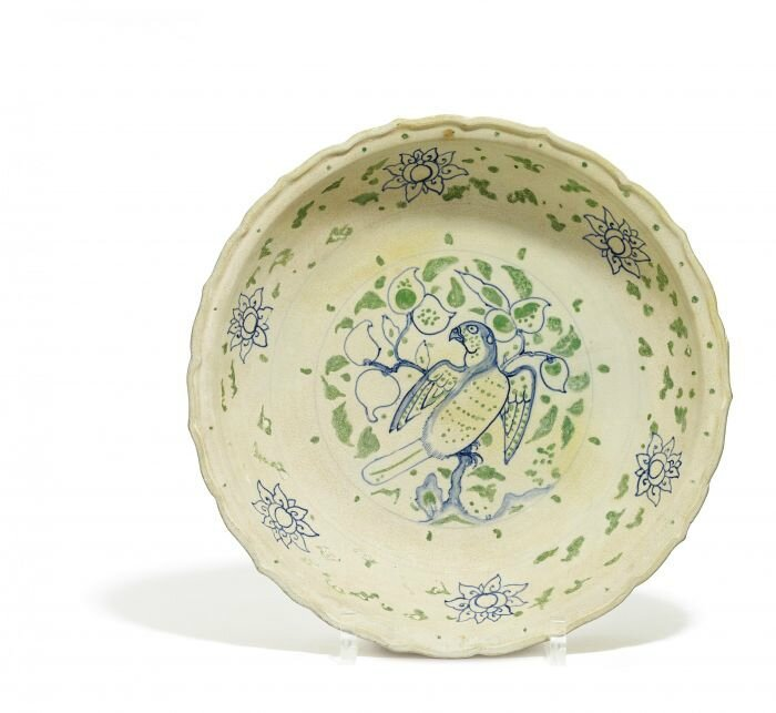 Plate with parrot and lotus, Vietnam, Annam, Late 15th century