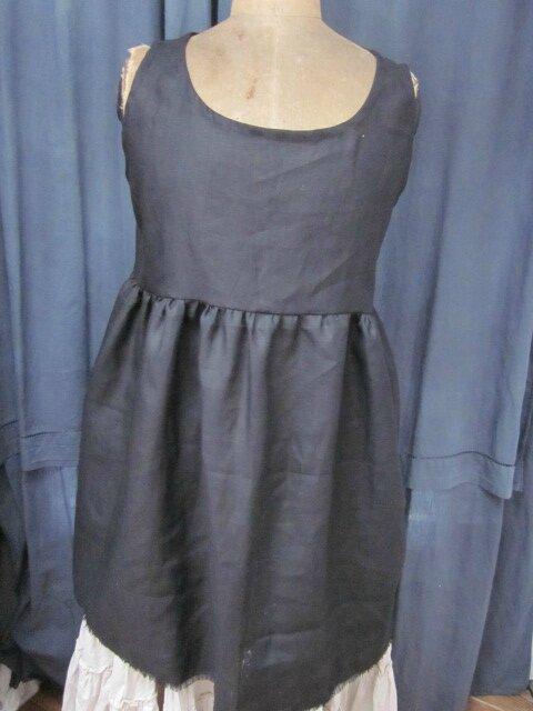 Robe-tunique EGLANTINE en lin noir (3)