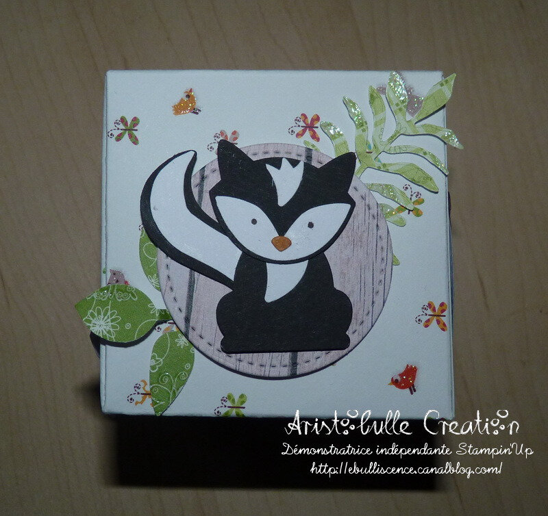 Carte cube pop up Foxy friends - face mouffette