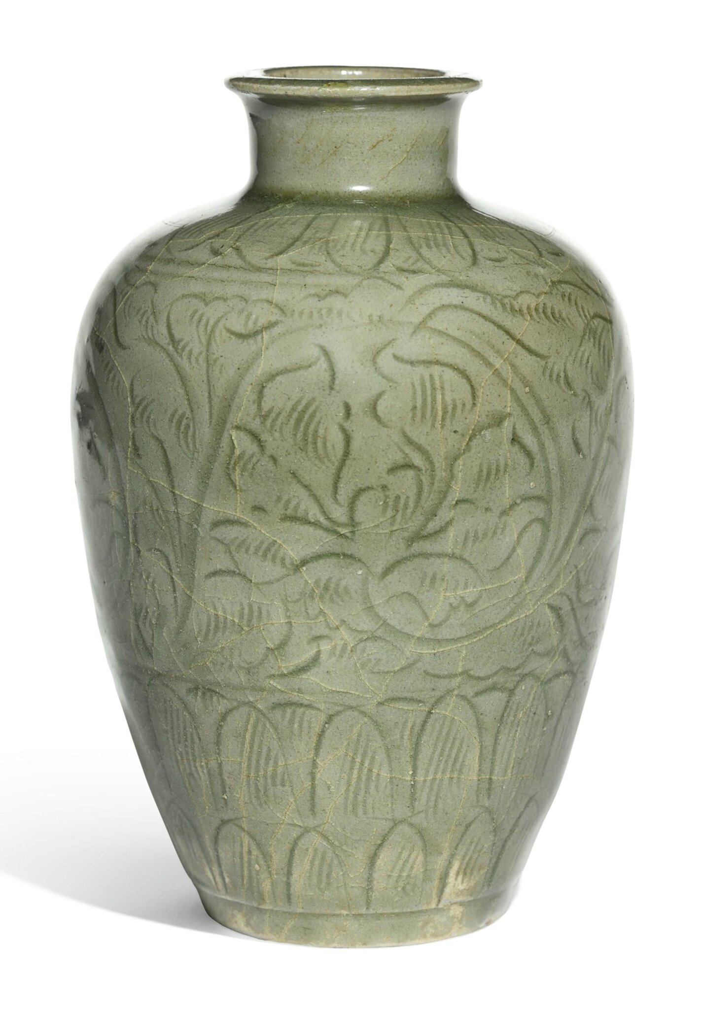 A ''Longquan' celadon carved meiping, Early Northern Song dynasty,