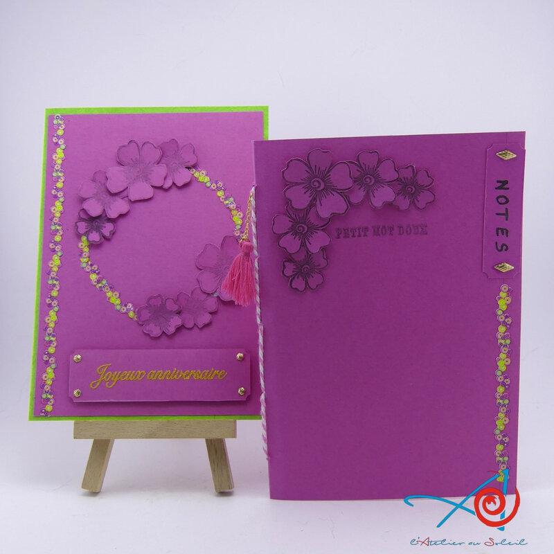 Carte couronne de fleurs - Garland of flowers card