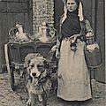 Laitière avec chien d'attelage, carte postale ancienne, métier d'autrefois