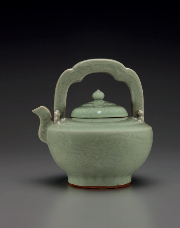 A very rare Longquan celadon teapot and cover, Ming dynasty, 15th-16th century