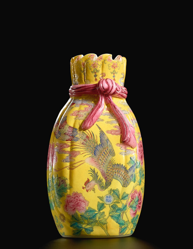 A highly important and superbly painted Beijing enamel falancai pouch-shaped glass vase, blue enamel mark and period of Qianlong (1736-1795); 18.2 cm. Estimate upon request. Lot sold 207,086,000 HKD. Courtesy Sotheby's.