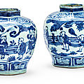 Two blue and white baluster jars, late ming dynasty