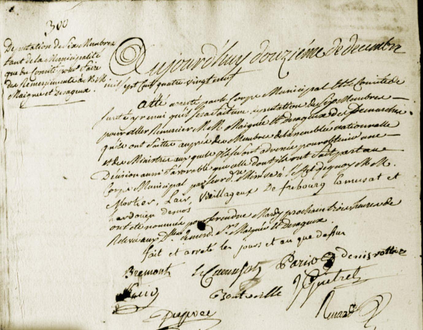 Le 12 décembre 1789 à Mamers : affaire Grou/Pélisson ( suite ).