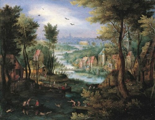 River Landscape with bathers