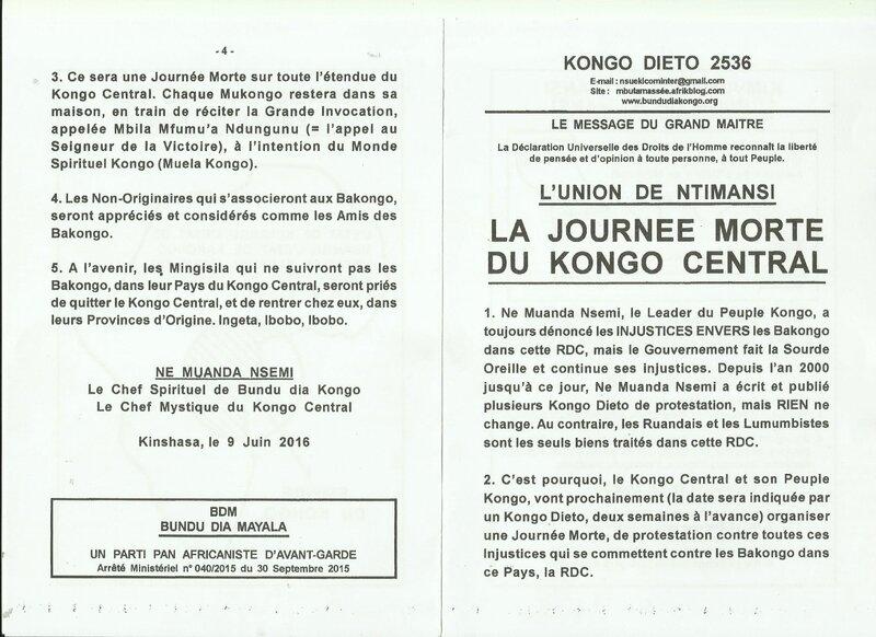 LA JOURNEE MORTE AU KONGO CENTRAL a
