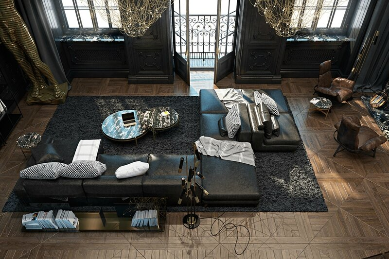 Distressed-leather-couch-high-French-windows-shagpile-rug-manor-esque-luxury