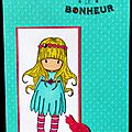 carte artisanale avec fillette blonde et chaton