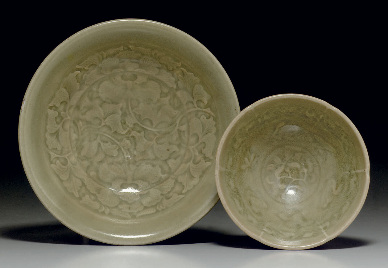 Two Yaozhou celadon molded vessels, Northern Song-Jin dynasty, 12th-13th century