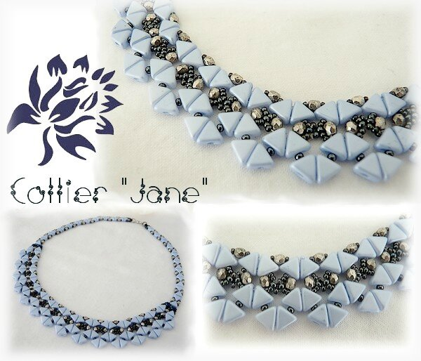 Planche collier Jane Blue Pearl