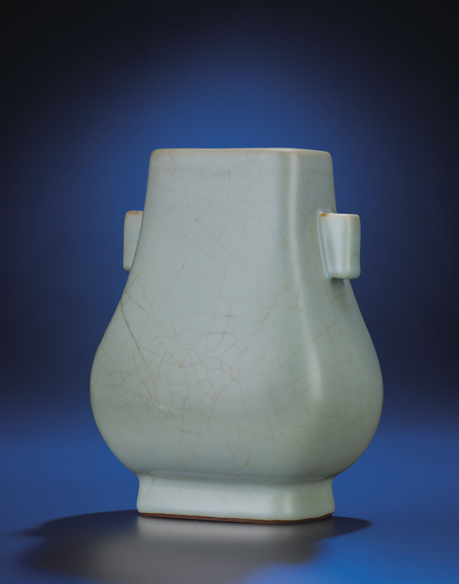 A fine and rare guan-type glazed pear-shaped vase,fanghu , Yongzheng six-character seal mark and of the period (1723-1735)
