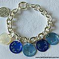 Bracelet sur chaîne plaqué argent coeur en nacre et 4 médailles en nacre gravées