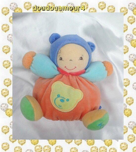 Doudou Poupée Collection Baby Peluche Boule Orange Bleu Vert Kaloo