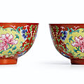 A fine pair of coral-ground famille-rose 'peony' bowls, seal marks and period of daoguang