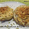 Fonds d'artichaut farcis au crabe