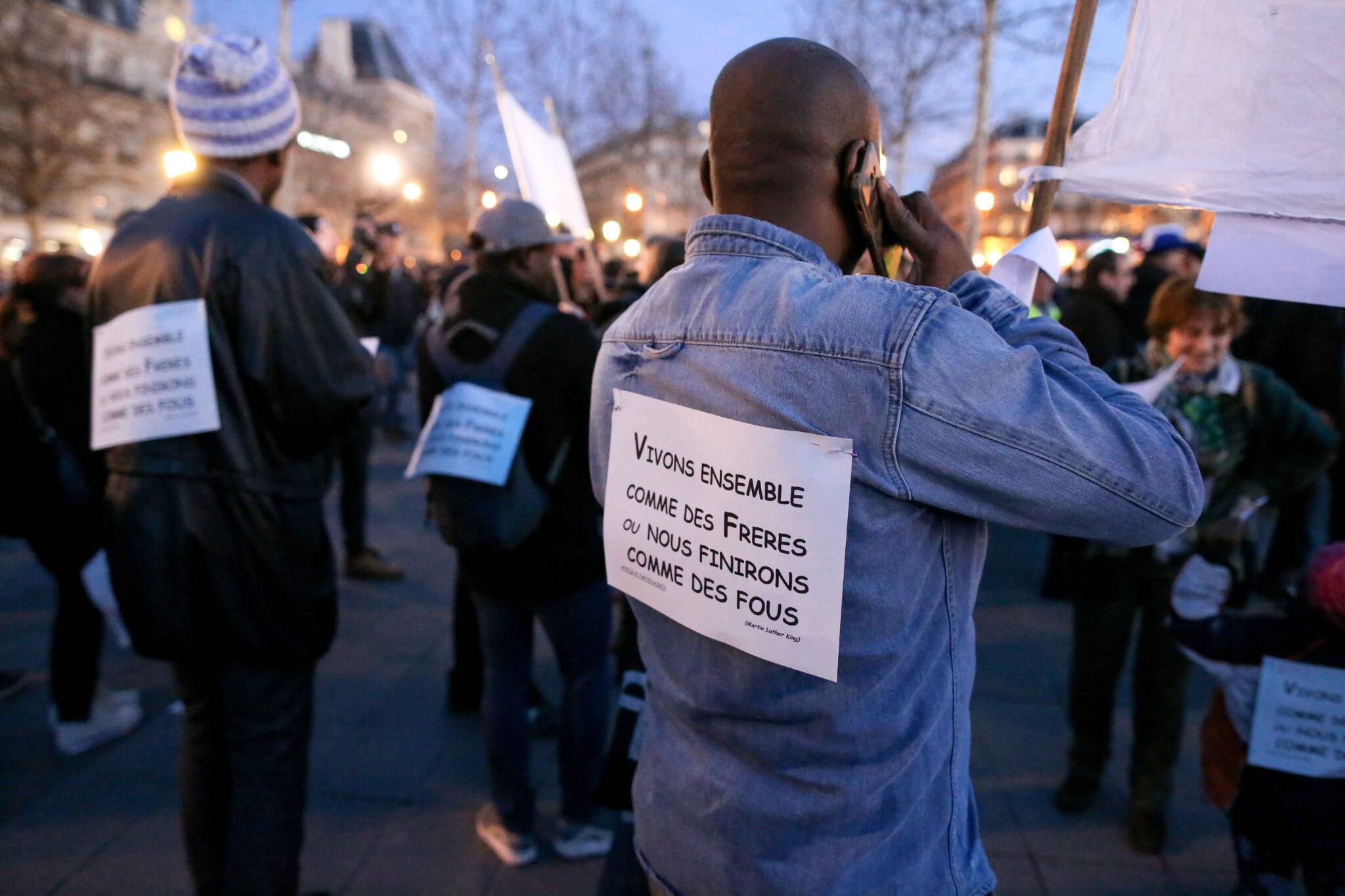 Non à l'antisémitisme : des milliers de personnes place de la République. © Michel Stoupak. Mar 19.02.2019, 18h43m16.