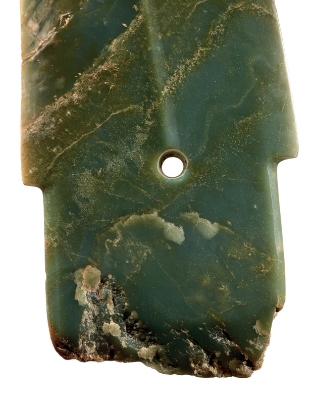 A rare large bluish olive-green jadegedagger-axe, China, Late Shang dynasty, 11th century BC 2