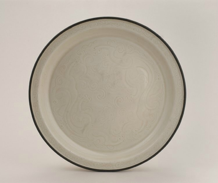 Dish with dragon amongst clouds, Northern Song dynasty