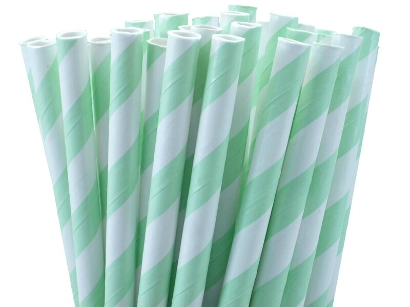 MintGreenStripedPaperStraws
