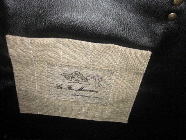 Sac cabas FELICIE n°13 en vinyl zébré noir et blanc et lin brut rayé blanc