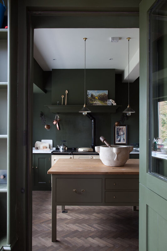 plain-english-home-house-shropshire-green-kitchen-view-through-doorway