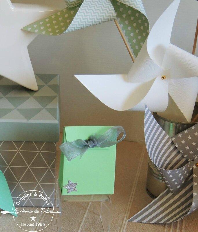 boite dragees bapteme theme etoile nuage baby shower vert mint gris argent2