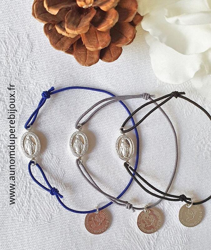 Bracelet Médaille miraculeuse sur fil élastique - 17 € (bleu marine, gris et noir)