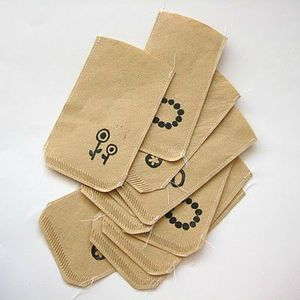 little bags made of coffe filters
