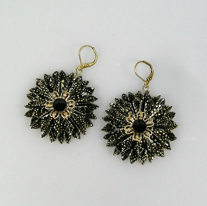 BO Ronde fleur noir doré V1