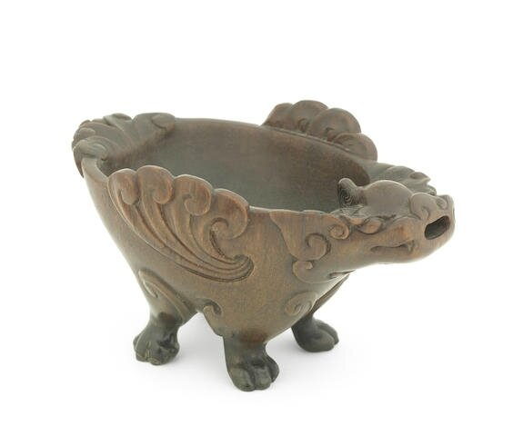 A very rare rhinoceros horn archaistic 'zoomorphic' pouring vessel, 17th-18th century