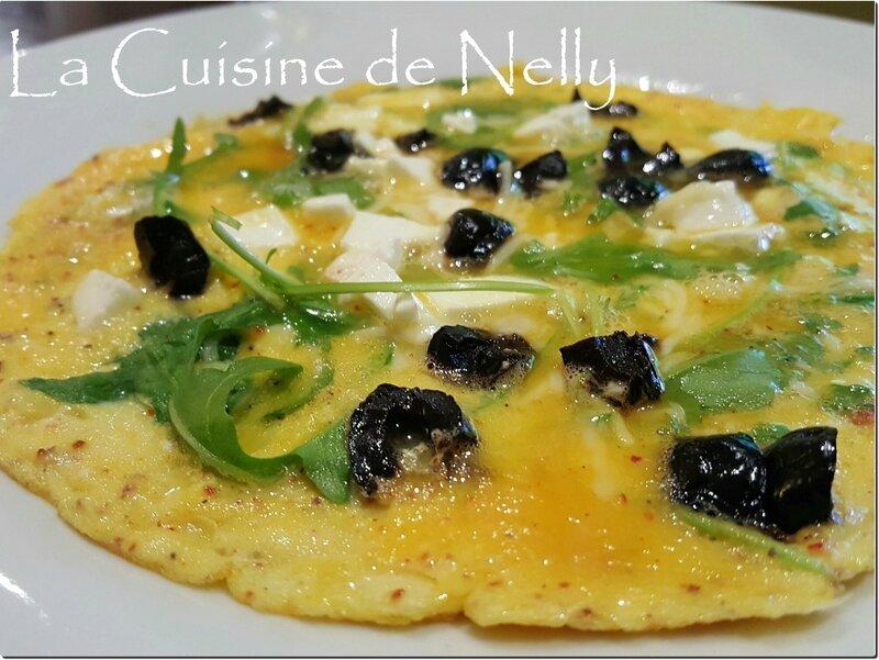 Omelette Roquette Fêta Olives noires