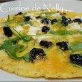 Omelette à la roquette, fêta et olives noires