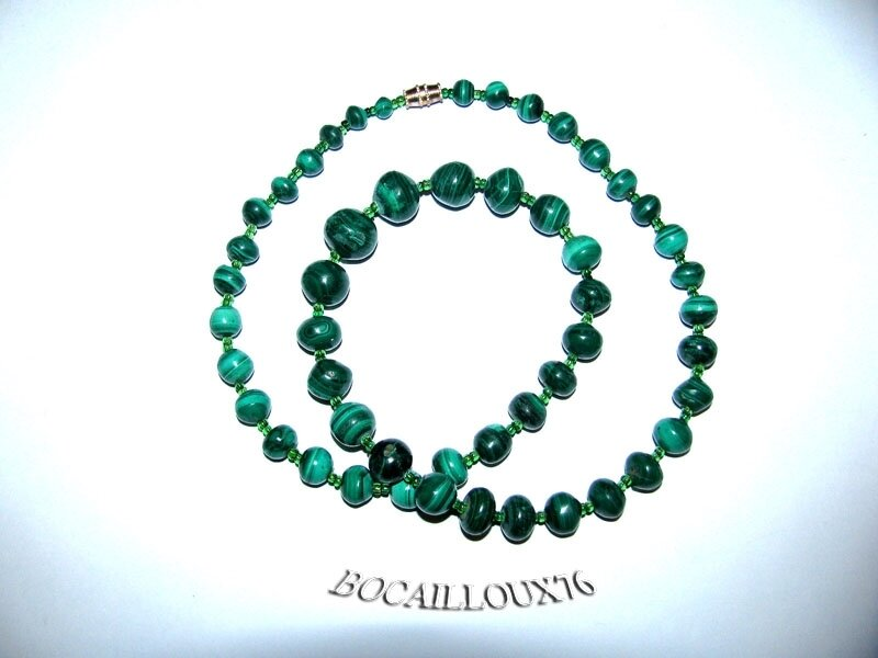 Collier MALACHITE 14 Perles (5)