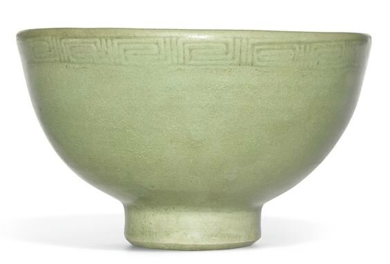 A moulded 'Longquan' celadon bowl, early Ming dynasty