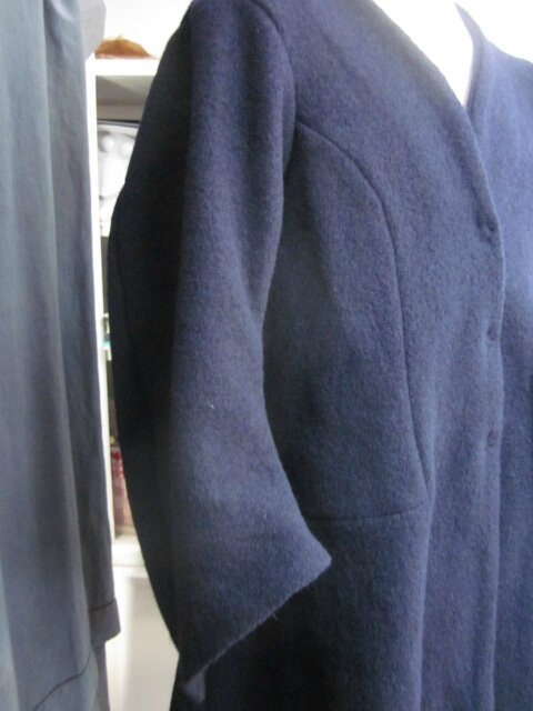 Redingote EDMONDE en laine bouillie MARINE - taille 56 (16)