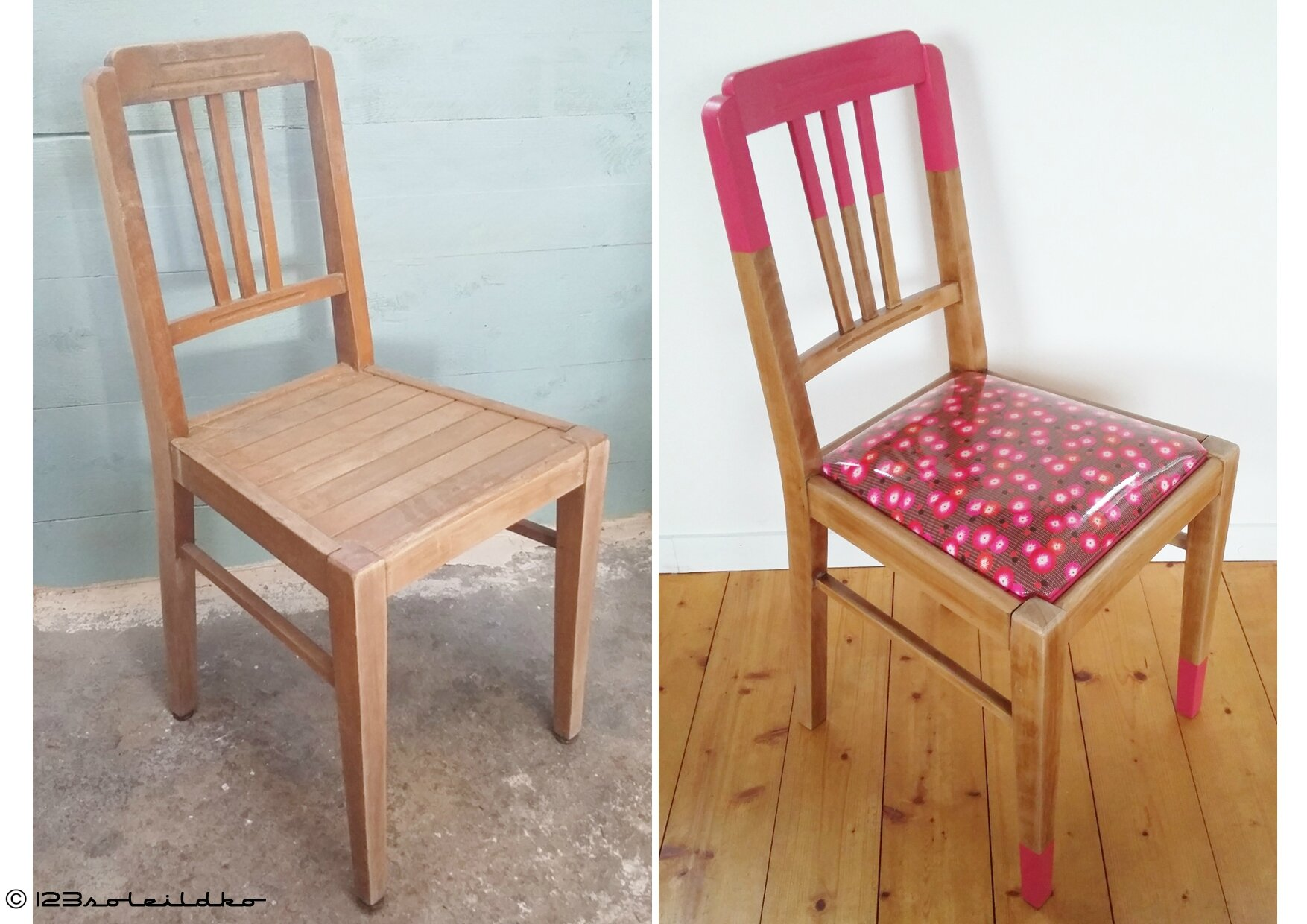 chaise vintage années 30 tissu Petit Pan