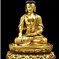 A magnificent and exceptionally large gilt-bronze figure of shakyamuni buddha ming dynasty, 15th-16th century