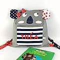 Sac enfant personnalisé Théa koala sac style marin rouge bleu marine cartable maternelle fille personnalisable