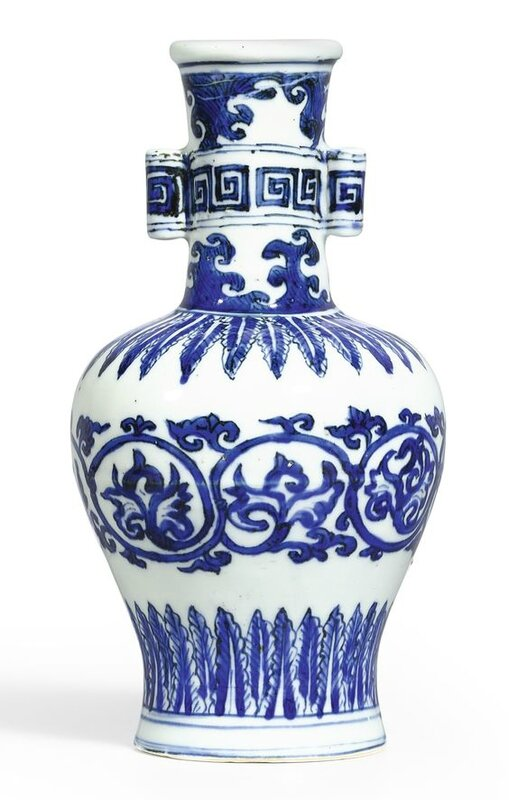 A fine and rare blue and white 'arrow' vase, Mark and period of Wanli (1573-1619)