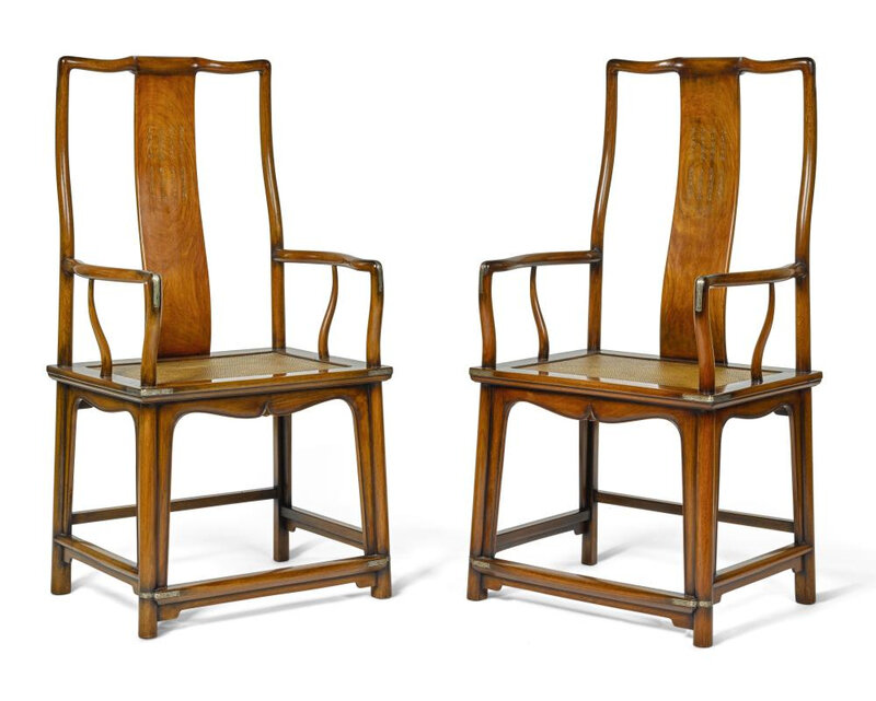 A pair of inscribed and metal-mounted hongmu 'Official's hat' armchairs, Qing dynasty, 19th century