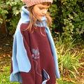 cape poncho laine polaire 100% laine T10/12 ans